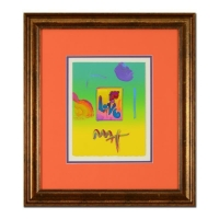 """Peter Max Signed """"Love"""" 20x22 Custom Framed One-Of-A-Kind Acrylic Mixed Media"""