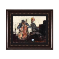 "Alex Zwarenstein Signed ""The Cello Recital"" 24x29 Custom Framed Original Oil Painting on Canvas"