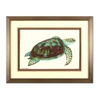 "Wyland Signed ""Turtle"" 25x33 Custom Framed Original Watercolor Painting"