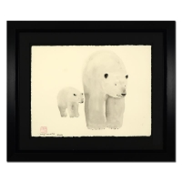 "Wyland Signed ""Polar Bear and Baby"" 35x44 Custom Framed Original Watercolor Painting"