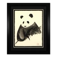"Wyland Signed ""Panda"" 36x43 Custom Framed Original Watercolor Painting"
