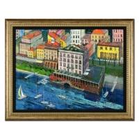 "Alex Zwarenstein Signed ""Lake Harbor"" 37x47 Custom Framed Original Oil Painting on Canvas"