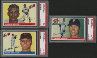 Lot of (3) (PSA) Graded 1955 Topps Baseball Cards with #71 Ruben Gomez (PSA 7), #147 Hugh Pepper RC (PSA 8) & #27 Billy Gardner RC (PSA 8)