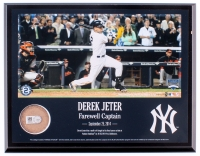"""Derek Jeter Yankees """"Farewell Captain"""" 8"""" x 10"""" Plaque with Game-Used Dirt (Steiner COA) at PristineAuction.com"""