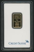 Certified Credit Suisse 999.9 Solid Gold 5 Gram Bar