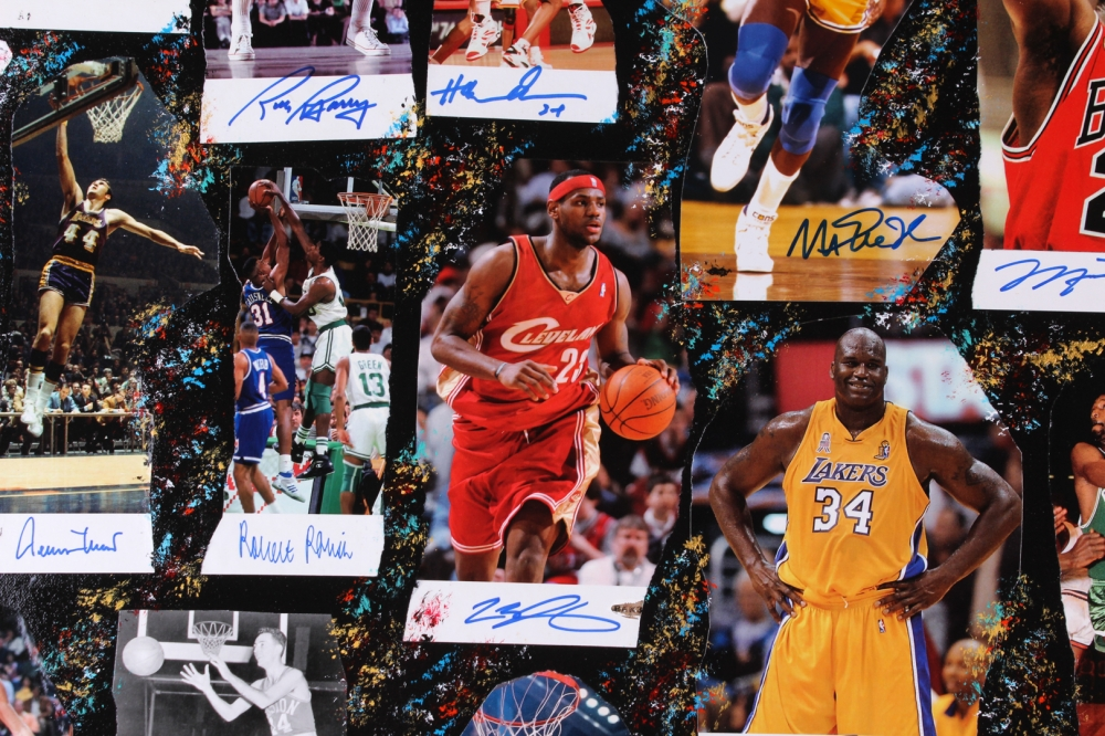 90c12667291 NBA Legends 40x60 Original Fine Art Collage on Canvas Signed by (57) with  Michael