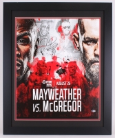"Floyd Mayweather Jr. Signed ""Mayweather vs. McGregor"" 27.5x33.5 Custom Framed Poster on Canvas (Beckett)"