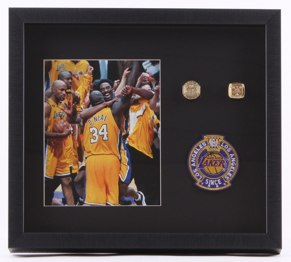 eb863968887 Kobe Bryant   Shaquille O Neal Lakers 15.5x17.5x2 Custom Framed Shadowbox  Photo Display with 2 Replica Rings   Lakers Patch