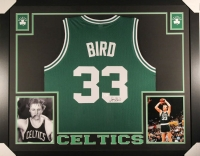 "Larry Bird Signed Celtics 35"" x 43"" Custom Framed Jersey (JSA COA)"