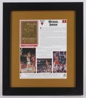 Michael Jordan Bulls 13x15 Custom Framed Stat Sheet Display with Gold Card