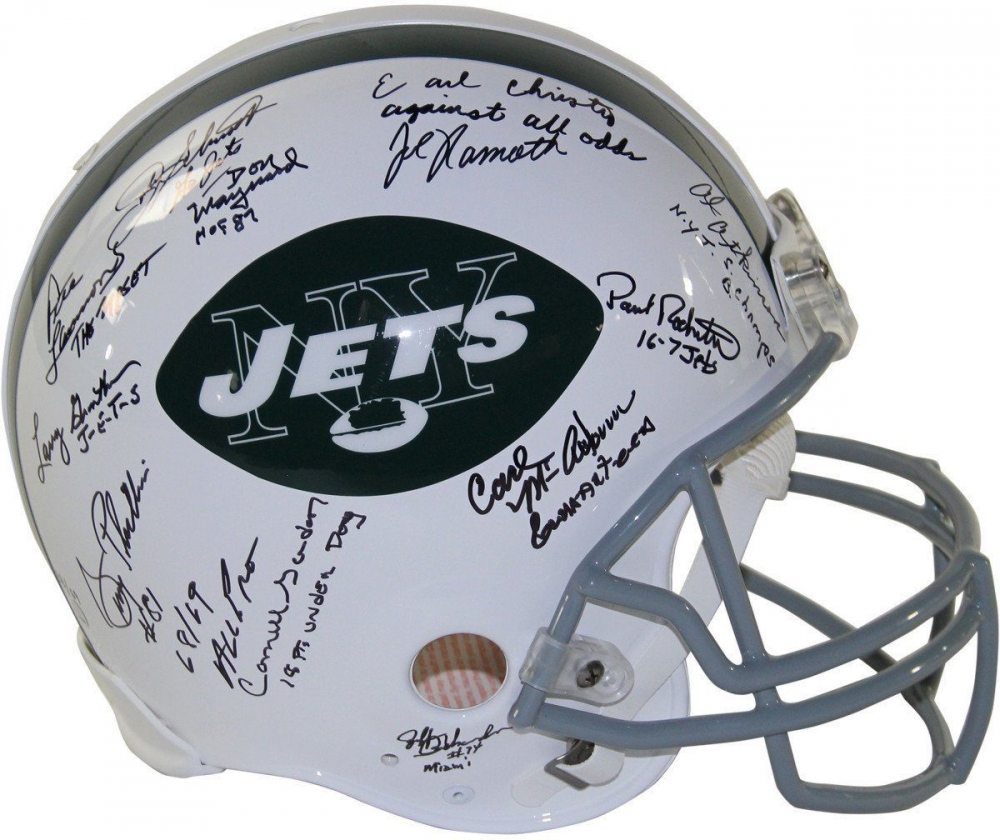 bd9712d6562 1969 Jets Full-Size Authentic On-Field Helmet Team-Signed by (24
