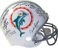 1972 Dolphins Full-Size Authentic On-Field Helmet Team-Signed by (6) with Bob Griese, Larry Csonka, Manny Fernandez, Mercury Morris, Larry Little, Dick Anderson with Inscriptions (Steiner Hologram) at PristineAuction.com