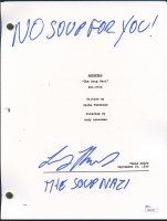 """Larry Thomas Signed """"Seinfeld"""" The Soup Nazi Episode Full Script Inscribed """"No Soup For You!"""" & """"The Soup Nazi"""" (JSA COA) at PristineAuction.com"""