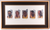 """Lakers Legends"" 26x44 Custom Framed Lithograph Signed by (5) with Wilt Chamberlain, Magic Johnson, Kareem Abdul-Jabbar, Jerry West & Elgin Baylor (JSA ALOA)"