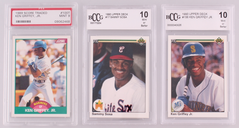 01a8b68c55 Lot of (3) Graded Baseball Cards with 1989 Score Traded #100T Ken Griffey
