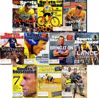 Lot of (10) Lance Armstrong Signed Sports Illustrated Magazines (