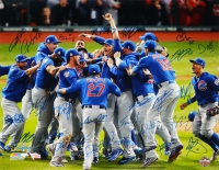 2016 Cubs World Series Champions 16x20 Photo Team-Signed by (26) with Kris Bryant, Anthony Rizzo, Ben Zobrist, Theo Epstein, Javier Baez, Kyle Hendricks, Addison Russell (Schwartz COA & Fanatics)