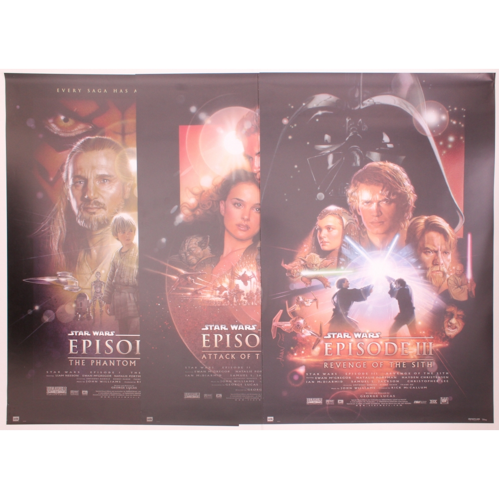 Lot Of 3 Star Wars 24 X 36 Movie Posters With Star Wars The Phantom Menace Star Wars Attack Of The Clones Star Wars Revenge Of The Sith Pristine Auction