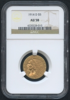 1914-D $5 Five Dollars Indian Head Half Eagle Gold Coin (NGC AU 58)