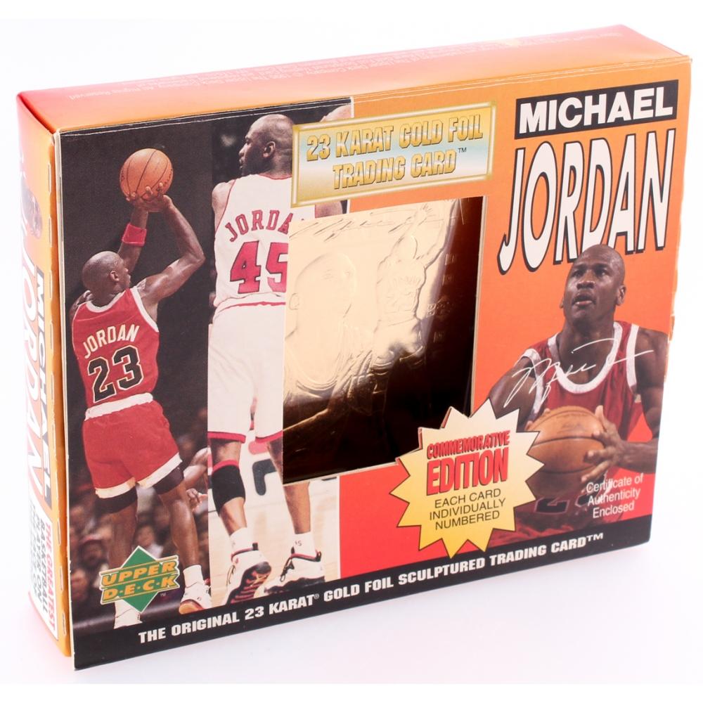 cc45220d54f 1995 Michael Jordan LE 23kt Gold Upper Deck Baseball Card with Original Box