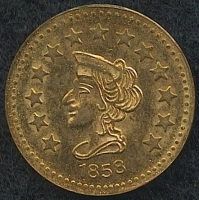 1858 California Gold Dated 1/2 Fractional Gold Coin