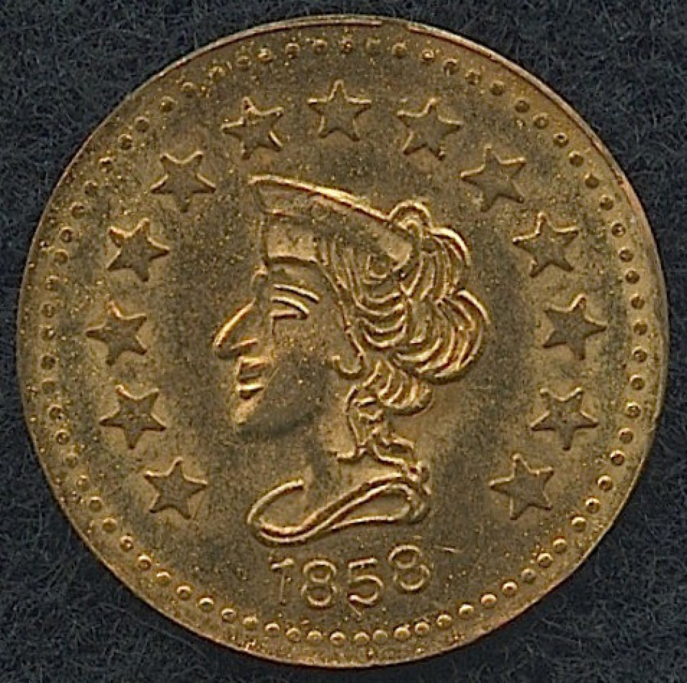 1858 California Gold Dated 1 2 Fractional Gold Coin Pristine Auction