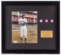 Ernie Banks Signed Cubs 16x18 Custom Framed Photo Display with (3) Vintage Pins (PSA COA)
