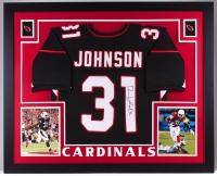 David Johnson Signed Cardinals 35x43 Custom Framed Jersey (JSA COA)