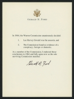 Gerald Ford Signed Typed Warren Commission Letter (JSA ALOA)