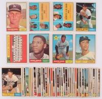 Lot of (49) 1961 Topps Baseball Cards with #260 Don Drysdale, #455 Early Wynn, #49 NL Strikeout Leaders Don Drysdale / Sandy Koufax, #43 NL Home Run Leaders Ernie Banks / Hank Aaron / Eddie Mathews