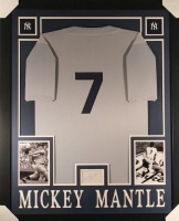 Mickey Mantle Signed Yankees 35x43 Custom Framed Display with Jersey & Signed Index Card (JSA LOA) at PristineAuction.com