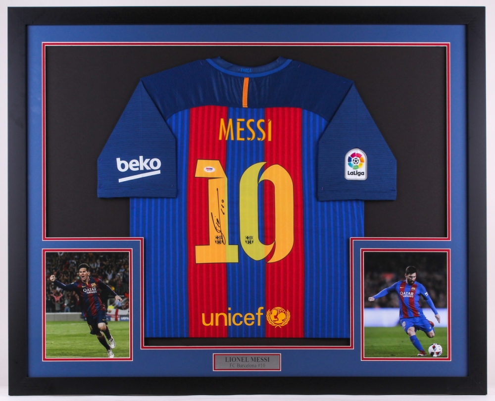efc3b3f29 Lionel Messi Signed Barcelona 35x42.5 Custom Framed Jersey Display (PSA LOA)