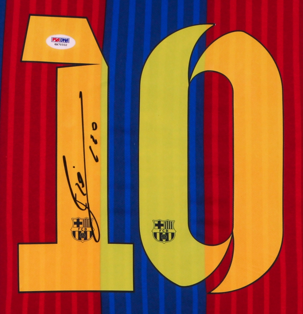 47aee9a4267 Lionel Messi Signed Barcelona 35x42.5 Custom Framed Jersey Display (PSA LOA)  at