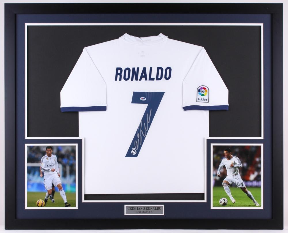 a73cb13b9 Cristiano Ronaldo Signed Real Madrid 35x43 Custom Framed Jersey Display  (PSA COA)