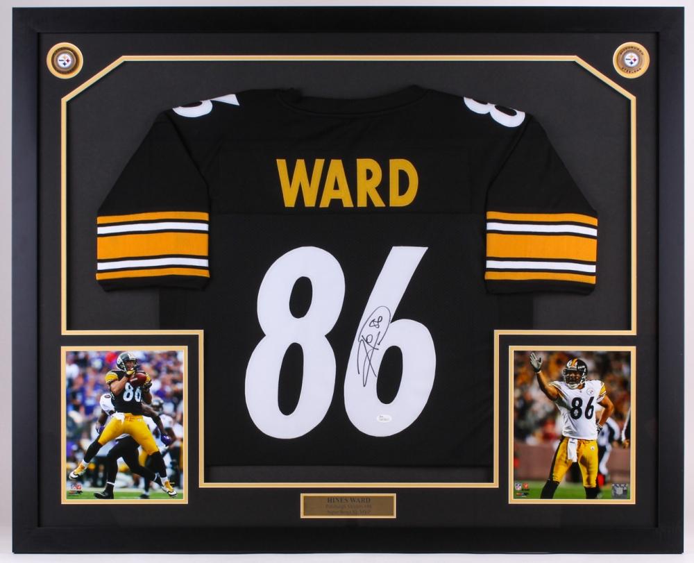 Hines Ward Signed Steelers 35x43 Custom Framed Jersey Display (JSA COA) 1713bf262