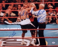 Mike Tyson & Evander Holyfield Signed 16x20 Photo with Inscriptions (PSA COA)
