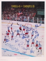 """1980 Team USA """"Miracle on Ice"""" 20x28 """"Do You Believe in Miracles"""" Lithograph Signed by (17) with Herb Brooks, Jim Craig, Mike Eruzione, Craig Patrick, Dave Silk, Ken Morrow (JSA LOA)"""