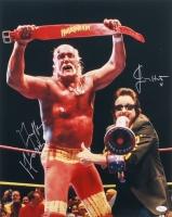 Hulk Hogan & Jimmy Hart Signed Hulkamania 16x20 Photo (JSA COA)