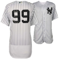 "Aaron Judge Signed Authentic Yankees Jersey LE Inscribed ""All Rise!"" & ""Judement Day! (Fanatics Hologram)"