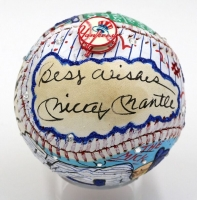 "Mickey Mantle Signed Baseball Hand-Painted by Charles Fazzino Inscribed ""Best Wishes"" (PSA LOA)"