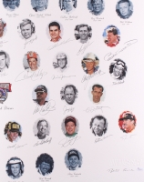 NASCAR 50 Greatest Drivers 1948-1998 26x39 Lithograph Signed by (34) with Dale Earnhardt Sr., Richard Petty, Bobby Allison, A. J. Foyt, Junior Johnson, Darrell Waltrip (JSA LOA) at PristineAuction.com
