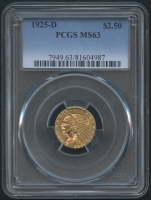 1925-D $2.50 Indian Head Quarter Eagle Gold Coin (PCGS MS 63)