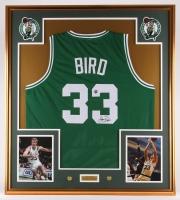 Larry Bird Signed Celtics 34.25x38.25 Custom Framed Jersey Display (Bird Hologram)