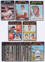 Lot of (36) 1971 Topps Baseball Cards with #400 Hank Aaron, #220 Ron Santo, #75 Gary Nolan, #512 Red Sox Rookie Stars, #61 Batting Leaders