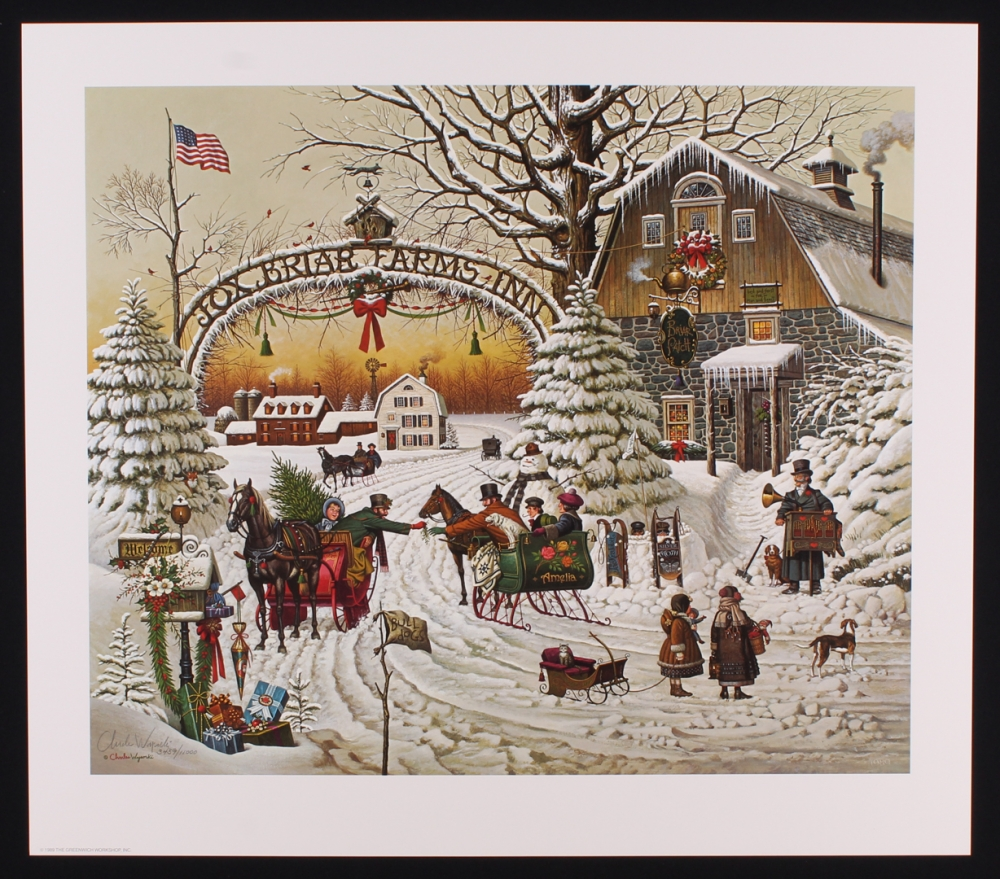 Online sports memorabilia auction pristine auction charles wysocki signed christmas greeting 23x20 1989 limited edition lithograph pa loa kristyandbryce Choice Image