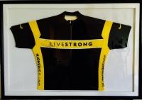 "Lance Armstrong Signed ""Livestrong"" 30x41.5 Custom Framed Jersey (JSA LOA)"
