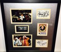 "Michael J. Fox, Christopher Lloyd & Lea Thompson Signed ""Back to the Future"" 16x17.5 Custom Framed Photo & Cut Display (JSA COA)"