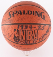 1984-85 NBA Champions Lakers Team-Signed by (14) with Magic Johnson, Kareem Abdul Jabbar, James Worthy, Michael Cooper, Mike Mcgee (JSA ALOA) at PristineAuction.com