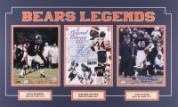 Walter Payton, Dick Butkus & Gale Sayers Signed Bears 18x30 Custom Matted Photo Display with Inscriptions (SOP, Schwartz & Walter COA)