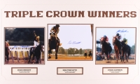 """Jean Cruget, Ron Turcotte & Steve Cauthen Signed """"Triple Crown Winners"""" 18x30 Custom Matted Photo Display (SOP COA)"""